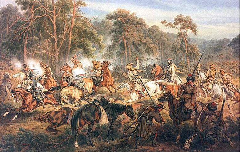 Walki powstańców były często tematem malarzy. Juliusz Kossak utrwalił na płótnie Bitwę pod Ignacewem