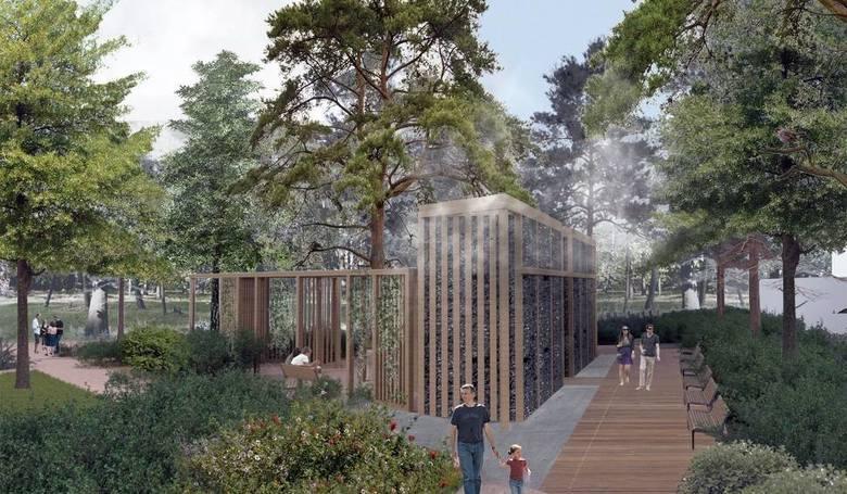 Wizualizacja parku jordanowskiego według koncepcji pracowni architektonicznej, z tężnią solankową.