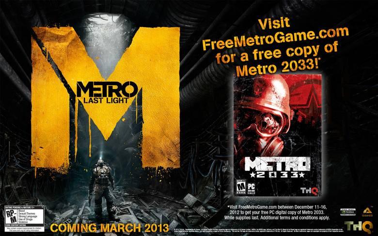 """Metro 2033 za darmoWystarczy jedno """"Lubię to!"""", aby dostać własną kopię gry Metro 2033"""