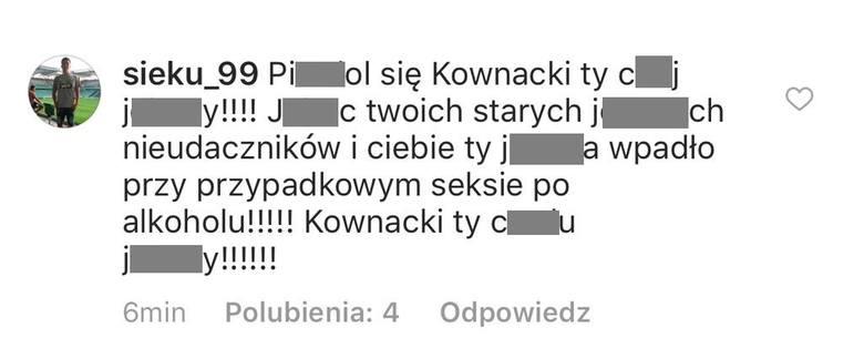 Wulgarny komentarz użytkownika na temat wypowiedzi Dawida Kownackiego.