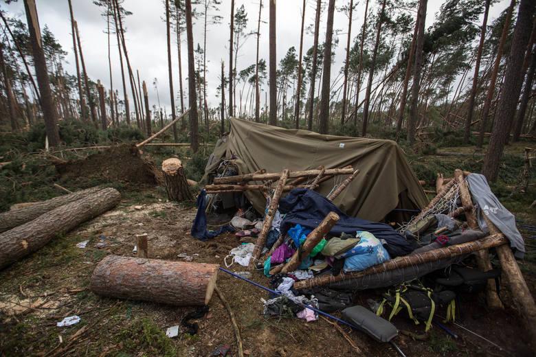 Obóz harcerski w Suszkach (powiat chojnicki) po przejściu nawałnicy