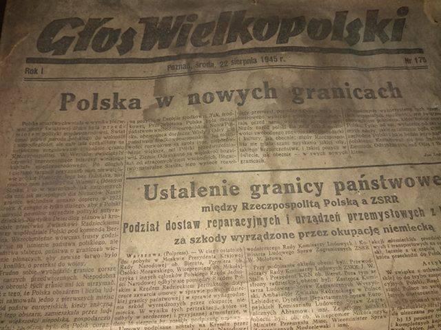 """Jeden z naszych Czytelników Arek Czaczyk znalazł u siebie egzemplarz """"Głosu Wielkopolskiego"""" z 22 sierpnia 1945 r. Przypomnijmy, że"""