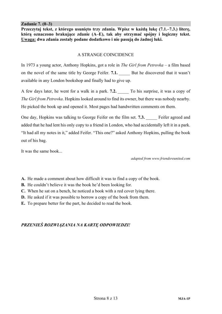 matura angielski 2021 podstawa odpowiedzi