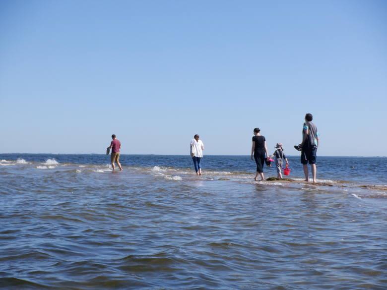 Tak właśnie można spacerować po piasku, a potem brodząc po kostki, kolana w wodzie. Dalej jednak jest głębina