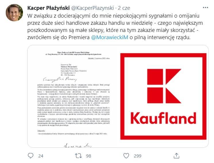 Poseł PiS Kacper Płażyński pisze do premiera ws. marketów sieci Kaufland, które mają być placówkami pocztowymi