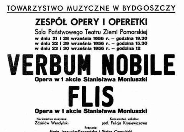 Fragment pierwszego historycznego afiszu ze spektaklu inaugurującego Studio Operowe w Bydgoszczy, 21 września 1956 r.