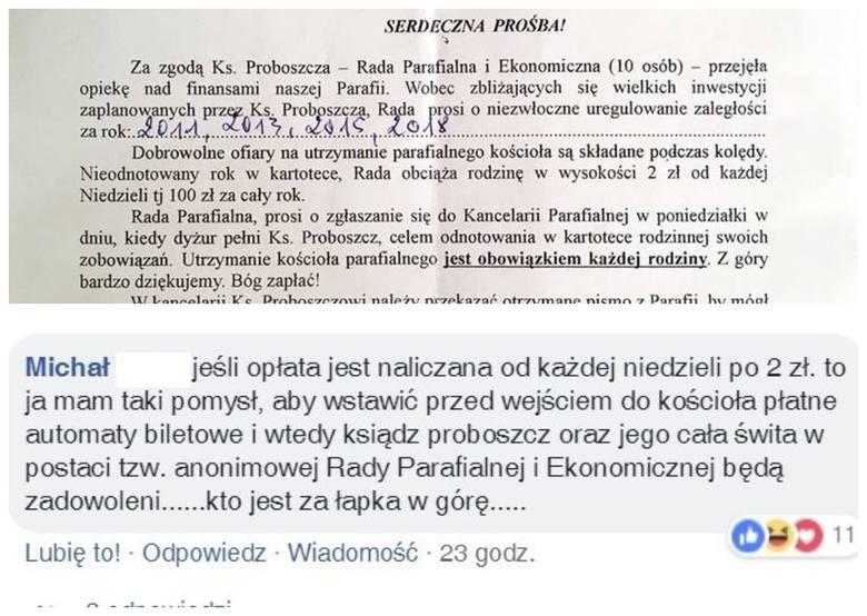 Przedstawiciele parafii św. Wojciecha rozesłali pismo, w którym proszą o niezwłoczną ofiarę na kościół. W piśmie podpisanym przez samego proboszcza,