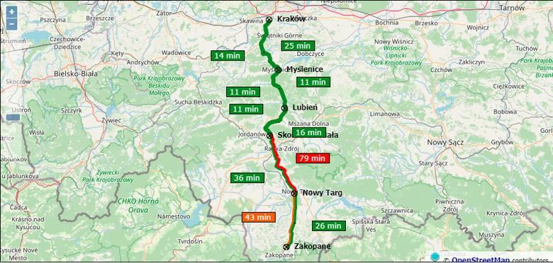 Czas przejazdu na trasie Zakopane - Skomielna Biała; 19:30