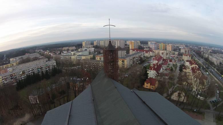 Okolica ronda Jana Pawła II w Zielonej Górze z lotu ptaka