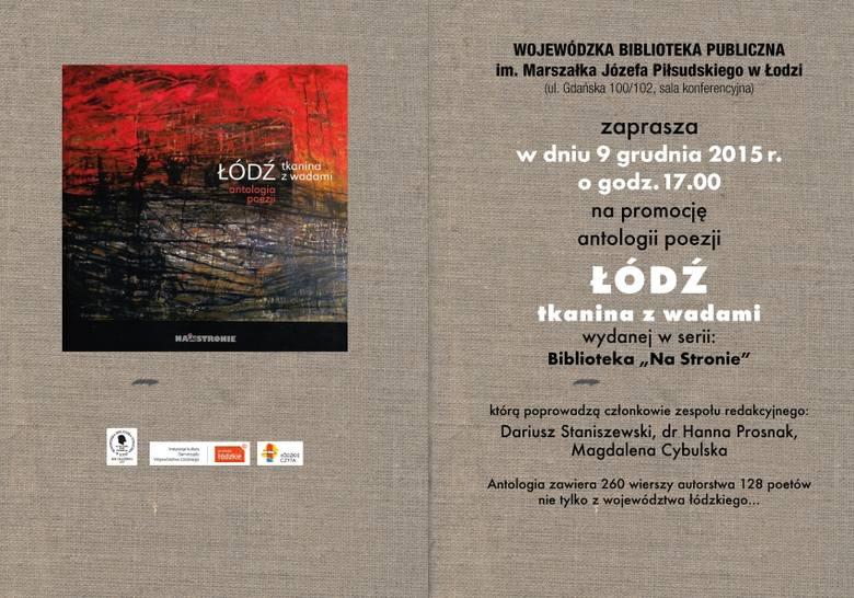 """Fragment okładki antologii """"Łódź. Tkanina z wadami"""", w której wykorzystano olejny obraz na desce """"Stary Rynek"""" Mariusza"""
