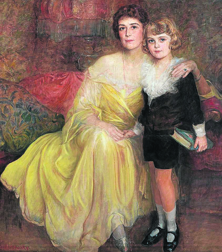 """Obraz """"Matka z synem"""". Wybitny portrecista  Jan Bolesław Czedekowski malował głównie pojedyncze portrety, choć  podwójne też się zdarzały"""