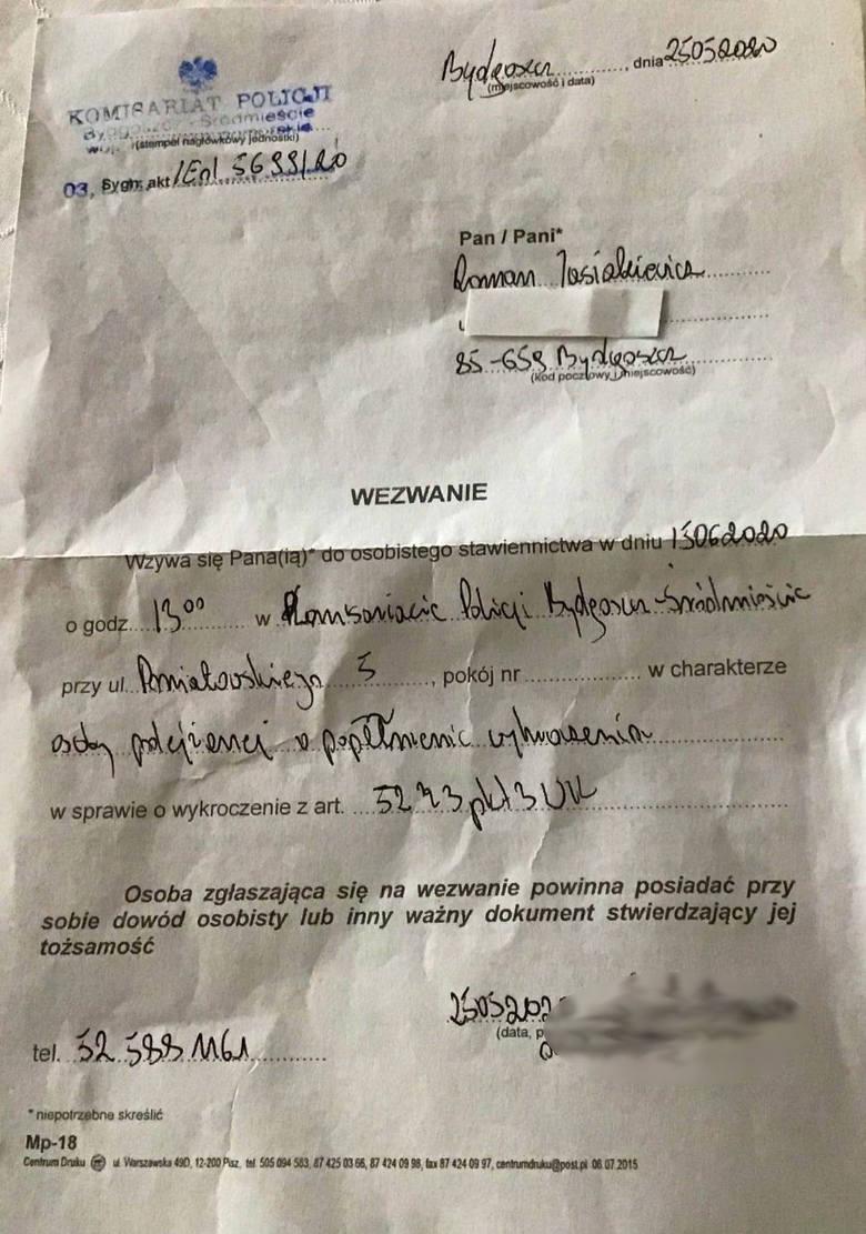 Roman Jasiakiewicz odebrał wezwanie do stawienia się na policji w charakterze osoby podejrzanej o popełnienie wykroczenia