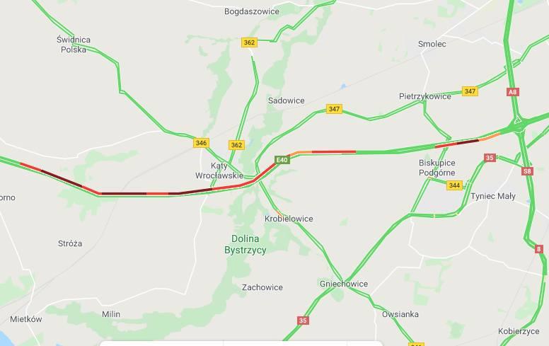 Potężne korki na autostradzie pod Wrocławiem