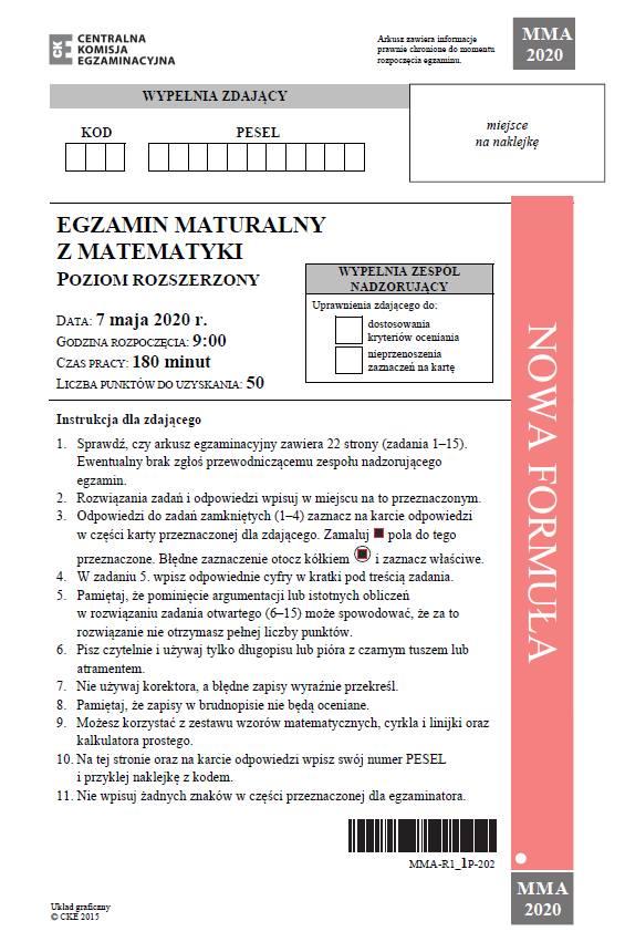 Matura  matematyka 2020 rozszerzenie. ODPOWIEDZI, ARKUSZ CKE, rozwiązania zadań. Co było na egzaminie z matematyki 15.06.2020?