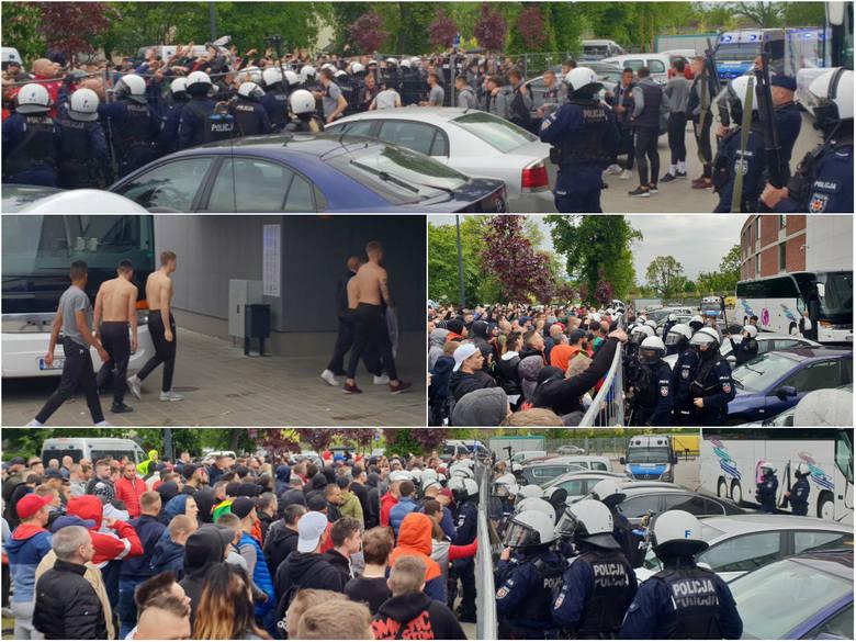 Po blamażu piłkarzy Widzewa w Bełchatowie (porażka 1:3) pod stadionem przy al. Piłsudskiego w Łodzi zebrali się kibice łodzian. Chcieli porozmawiać po