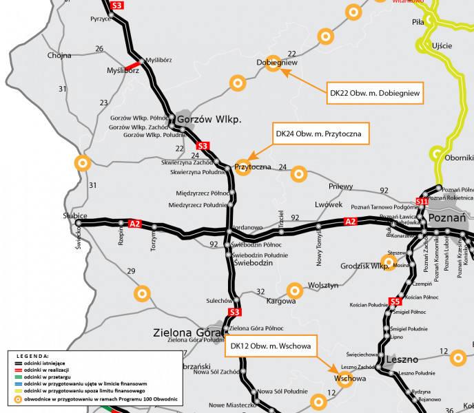 Na mapie zaznaczono wszystkie planowane obwodnice w województwie lubuskim.