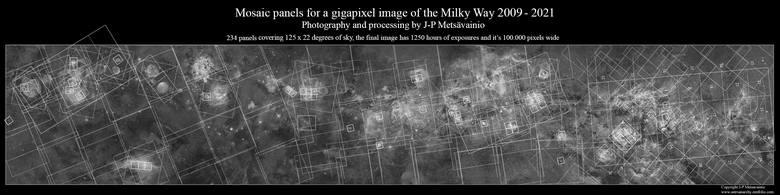 Finalne zdjęcie ma szerokość około 100 000 pikseli i składa się z 234 połączonych ze sobą pojedynczych paneli mozaiki. Cały obraz obejmuje 1,7 gigapikseli.