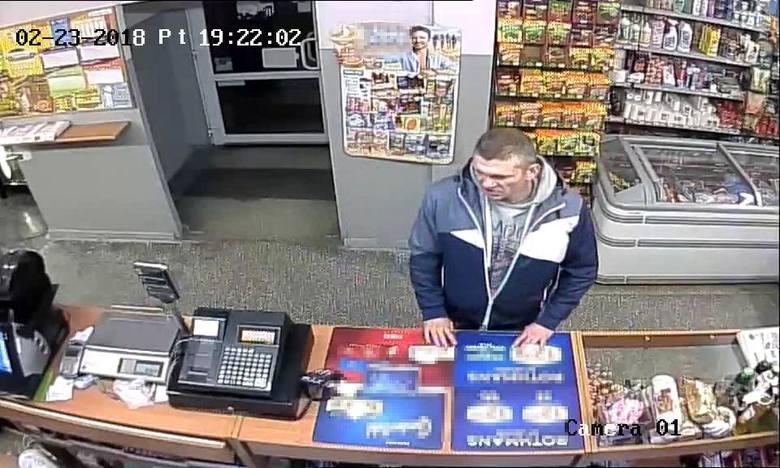 Moment kradzieży nagrała kamera monitoringu. Policja publikuje wizerunek sprawcy za zgodą prokuratora.