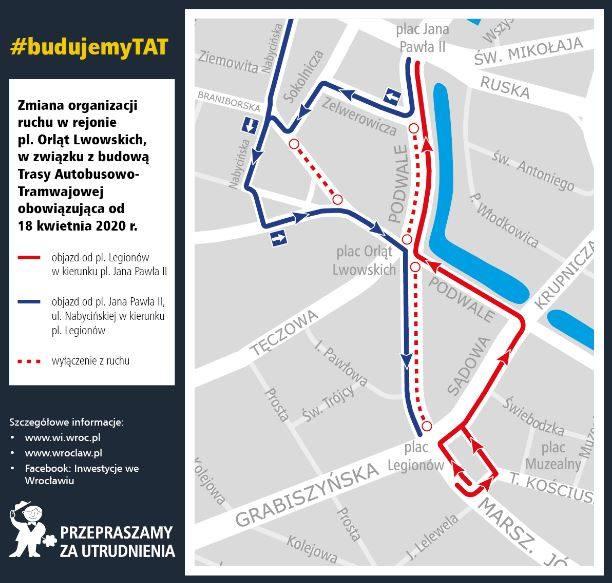 Wielkie zmiany dla kierowców na placu Orląt Lwowskich. To nowy etap budowy trasy na Nowy Dwór