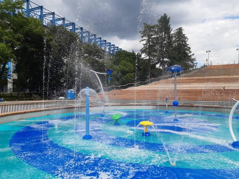 Tak prezentował się wodny plac zabaw w parku Jordana podczas jego testowania
