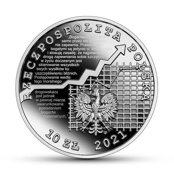 Kolekcjonerska moneta Narodowego Banku Polskiego poświęcona Adamowi Krzyżanowskiemu (1873-1963), wybitnemu krakowskiemu ekonomiści