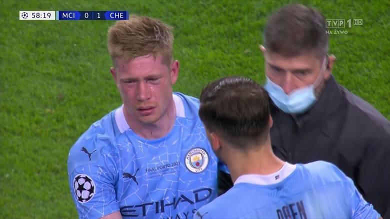 Kevin de Bruyne ma złamany nos i złamaną kość lewego oczodołu