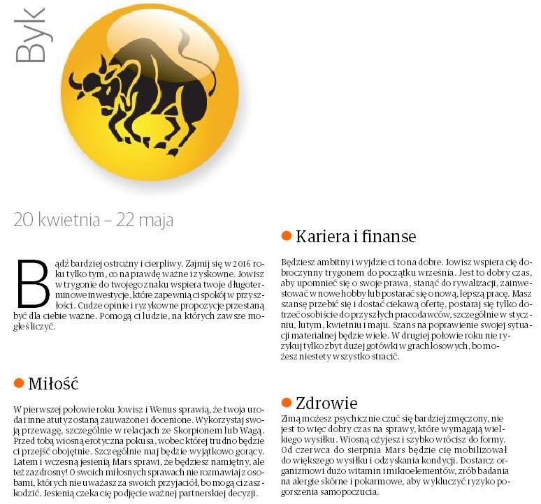 Horoskop 2016 dla byka