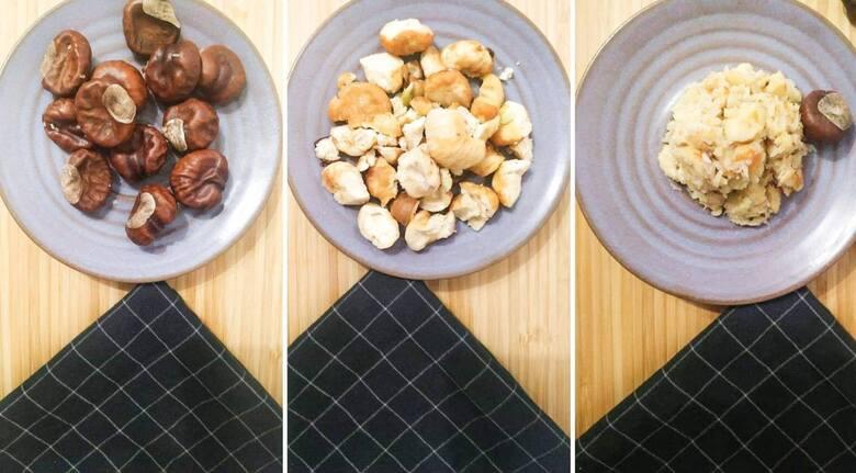 Etapy przygotowywania domowego mydła z kasztanów.