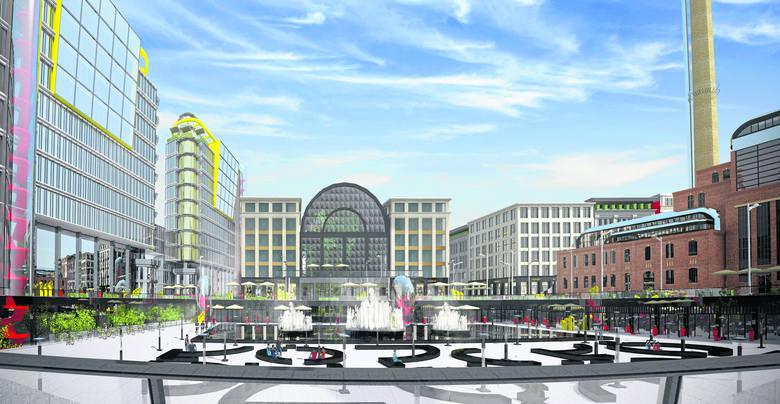 Tak może wyglądać rynek Kobro. Z lewej budynki stojące nad Fabrycznym, z prawej gmach EC1