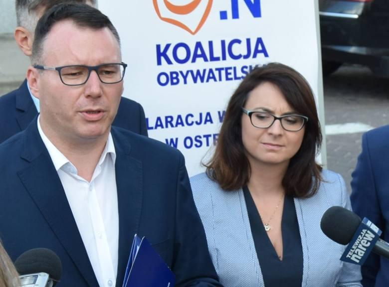 Wybory 2019. Koalicja Obywatelska ujawnia kandydatów. Na zdjęciu Mariusz Popielarz i Kamila Gasiuk-Pihowicz