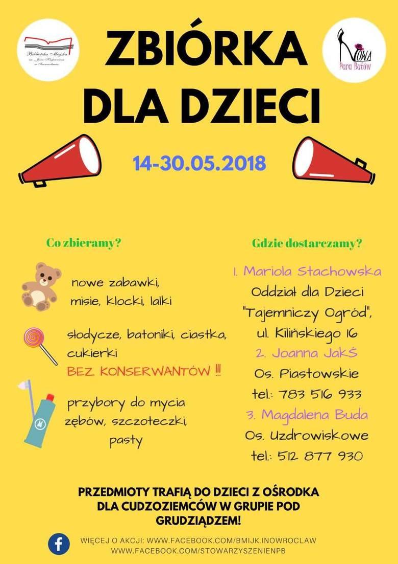 Zbiórka dla dzieci z ośrodka dla uchodźców w Grupie pod Grudziądzem. W Inowrocławiu