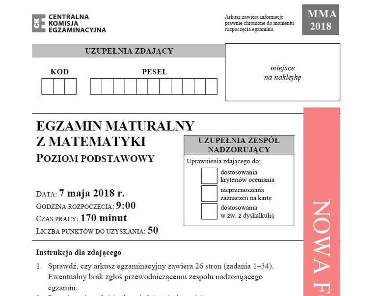 Matura 2018 matematyka poziom podstawowy - arkusze, odpowiedzi. Matura z matematyki 2018 poziom podstawowy 7.05.2018 [arkusze, rozwiązania].