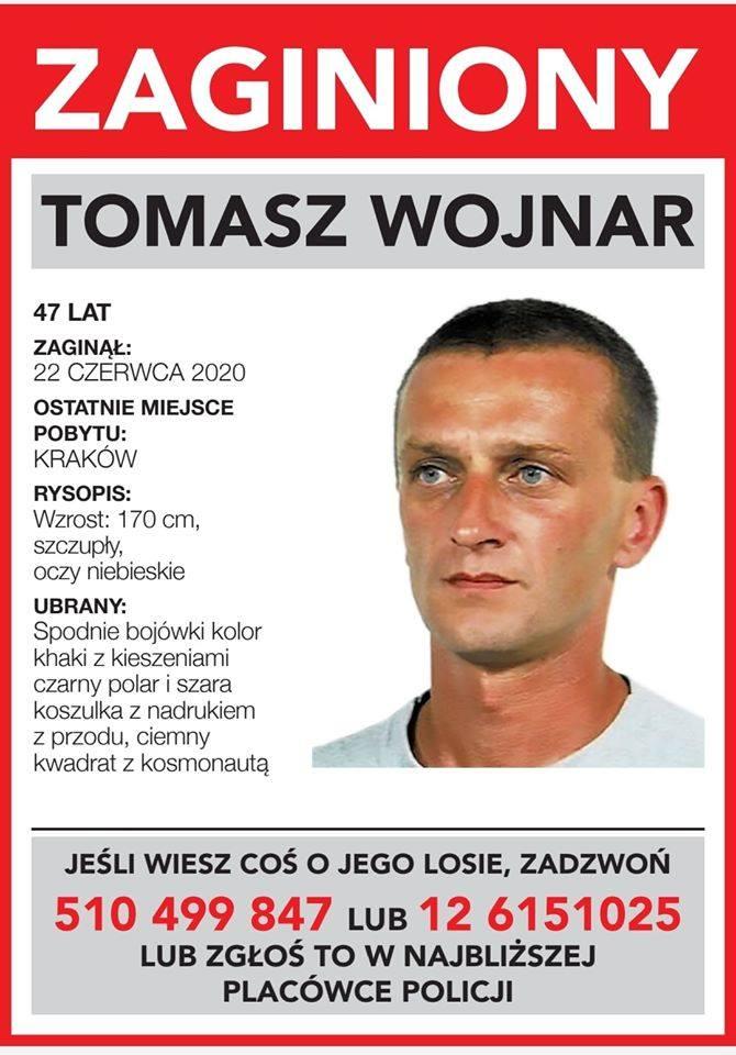 Kraków. Zaginął 47-letni Tomasz Wojnar. Ostatni raz widziany był przy ul. Jabłonkowskiej