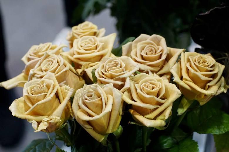 - Róże o odmianie toffi, są tu kolejne brązowe, farbowane kwiaty, to one będą bardzo modne w tym sezonie – mówi  Anita Kociubińska.
