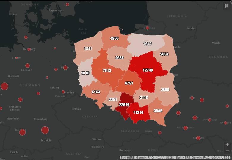 Liczba potwierdzonych przypadków wystąpienia koronawirusa w Polsce w poszczególnych województwach. Stan na 30.09.2020 (godz. 10.30)