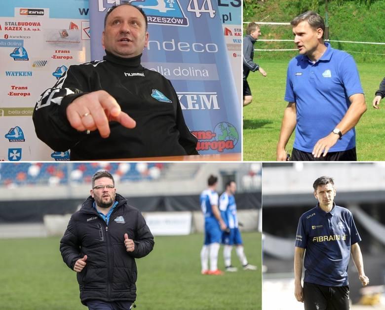 Przez 20 ostatnich sezonów z piłkarzami Stali Rzeszów pracowało 18 różnych trenerów. Nie brakowało oczywiście takich, którzy obejmowali drużynę więcej,
