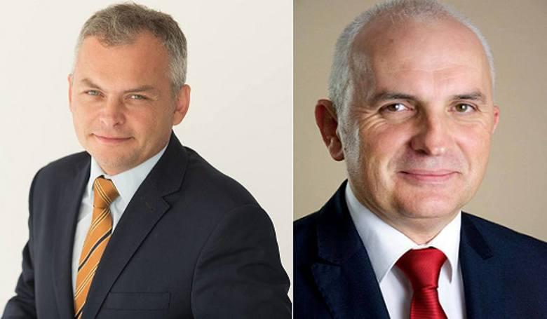 Dotychczasowy wójt gminy Juchnowiec Kościelny Krzysztof Marcinowicz (z prawej) otrzymał 46,76 proc. głosów. 4 listopada zmierzy się z Markiem Skrypk