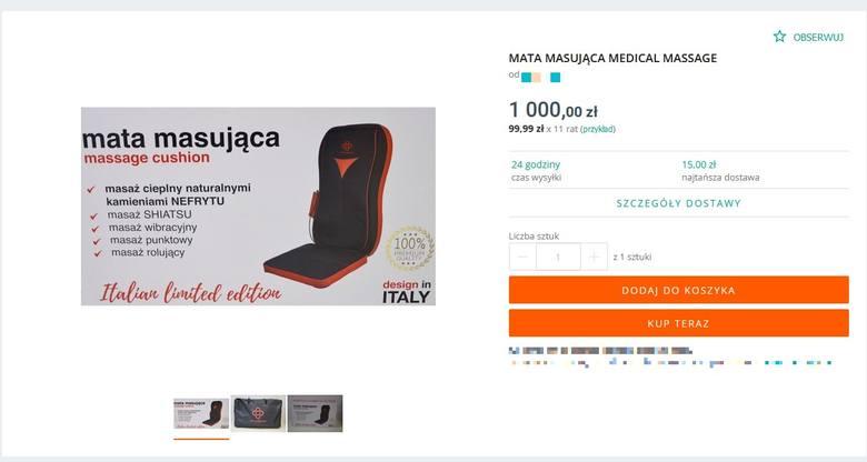 Inny Sprzedający oferuje tę samą matę za 1000 zł.