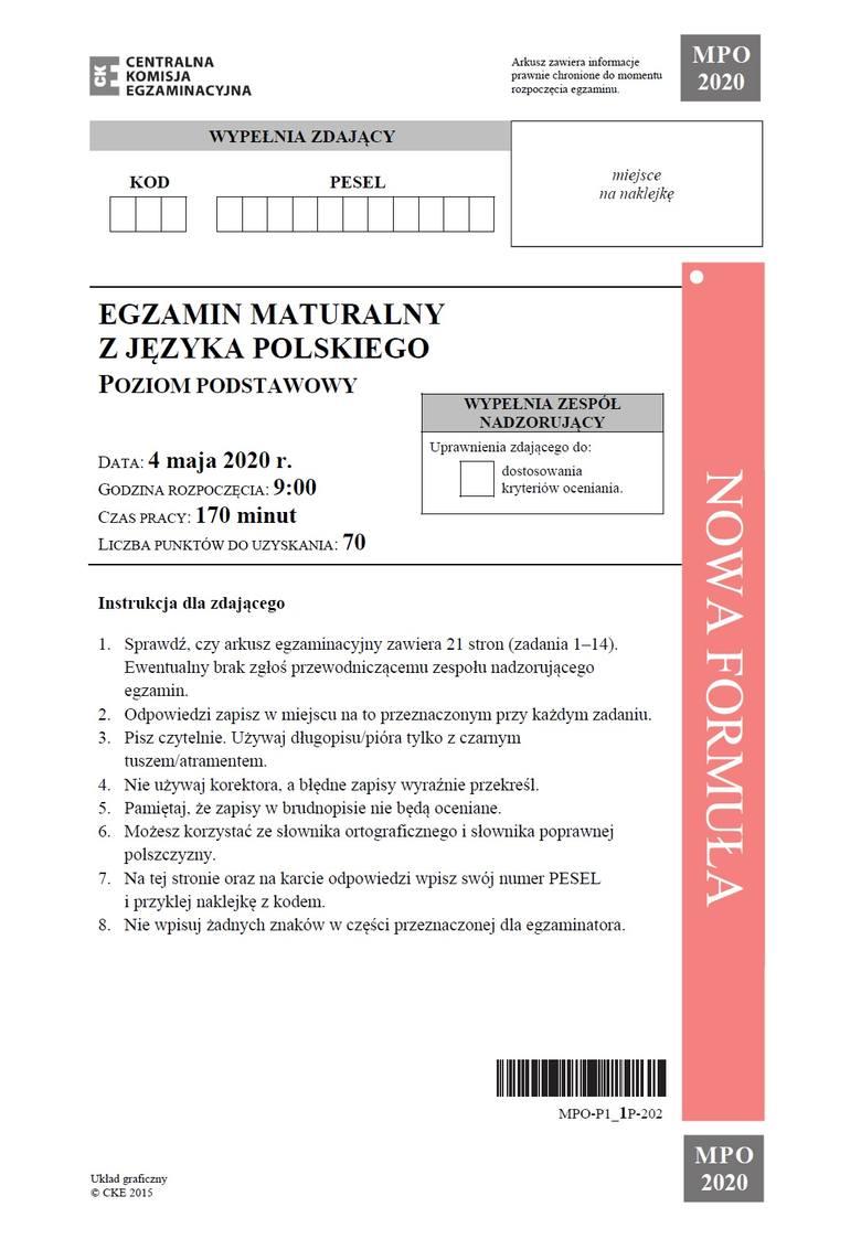 KLIKNIJ I SPRAWDŹ >>>ARKUSZ CKE z matury 2020 z języka polskiego na poziomie podstawowym. Sprawdź odpowiedzi!Odśwież stronę, na