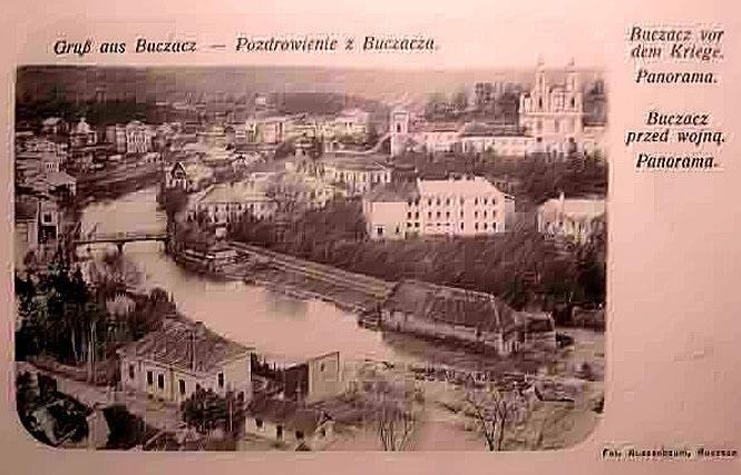 Strypa w Buczaczu. Na dawnym sztychu widać ruiny zamku. Na krótkim odcinku Strypy była ona rzeką graniczną zachodniego Podola.