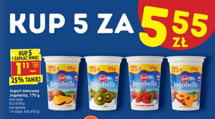 BiedronkaJogurt owocowy Jogobella, 175 g/1 opakowanie, 1,11 zł. Cena przy zakupie pięciu opakowań.Oferta ważna od poniedziałku, 20 lipca, do soboty,