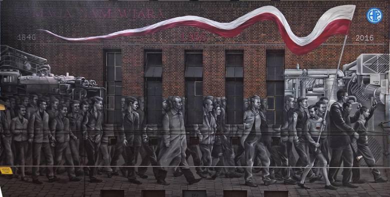Mural przy ul. 28 czerwca 1956 r. upamiętniający wydarzenia Poznańskiego Czerwca.Poznański street-art zachwyca, ale żeby go odkryć, trzeba trochę się