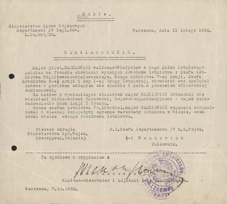 Jeden z dokumentów, jakie pozostały po majorze pilocie Władysławie Waldemarze Narkiewiczu - wystawiony przez pułkownika pilota Aleksandra Wańkowicza z Ministerstwa Spraw Wojskowych
