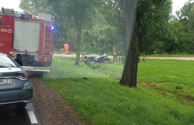 Wypadek na drodze krajowej nr 66 w rejonie miejscowości Szastały gmina Bielsk Podlaski