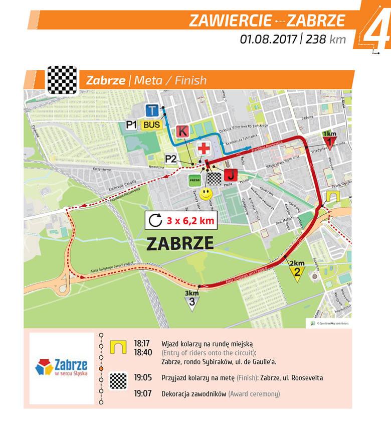 Tour de Pologne 2017 Zawiercie - Zabrze [4 etap TDP 2017] Trasa, gdzie oglądać, mapa