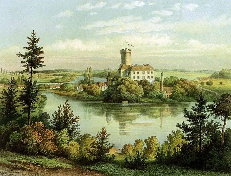 Zamek Joannitów w Łagowie na starej widokówce.