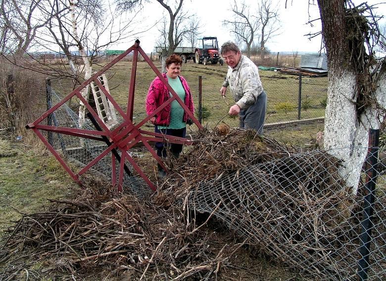 - Słup spadając uszkodził też ogrodzenie. To jednak nic w porównaniu z kompletnie zniszczonym gniazdem - mówią Janina Popowicz i Leszek Brancewicz. -