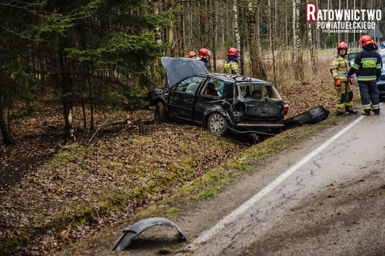 Wypadek Ełk - Regielnica. Pijany wjechał do rowu [zdjęcia]