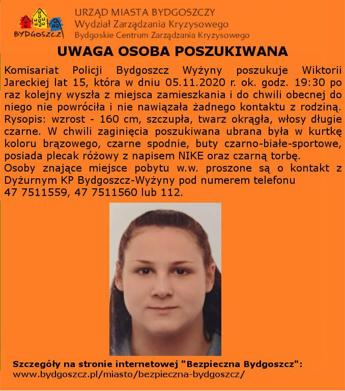 Zaginęła 15-letnia bydgoszczanka. Policja prosi o pomoc w ustaleniu jej miejsca pobytu.