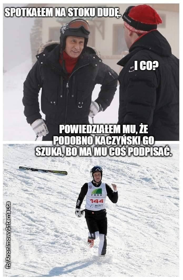 Andrzej Duda na nartach w Wiśle. Aktywność prezydenta wywołała falę memów. Zobacz je w galerii zdjęć
